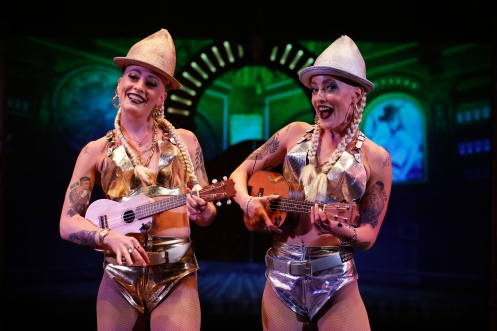 "Members of the cast perform during a photocall for ""The Raunch"" on the South Bank in London"